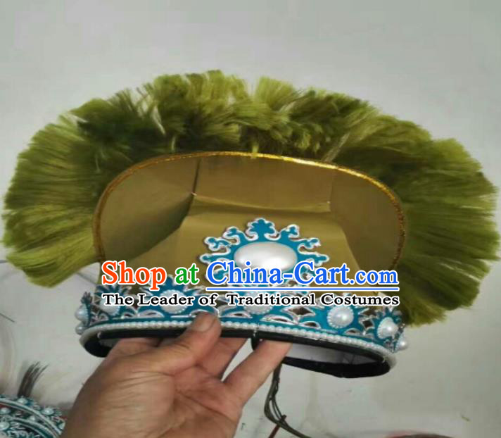 Traditional Chinese Peking Opera Old Men Green Hats, China Ancient Beijing Opera Ministry Councillor Headwear for Men