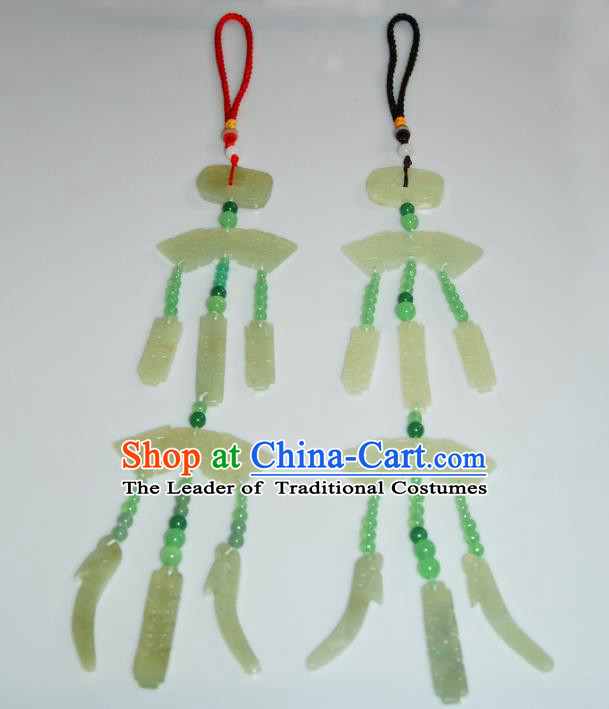 Traditional Handmade Chinese Accessories Tang Dynasty Empress Tassel Jade Pendant for Women