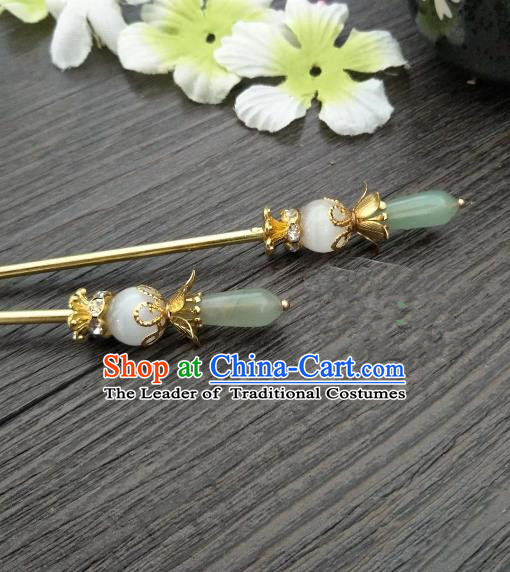 Traditional Handmade Chinese Hair Accessories Green Jade Hairpins, China Palace Lady Hanfu Hair Stick for Women