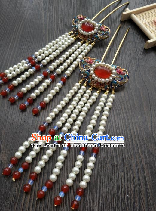 Traditional Handmade Chinese Hair Accessories Blueing Lotus Hairpins, China Palace Lady Hanfu Tassel Step Shake for Women