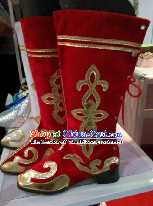 Traditional Chinese Minority Mongol Nationality Ethnic Mongolian Red Boots Mongolian Jockey Boots Tanks Boots