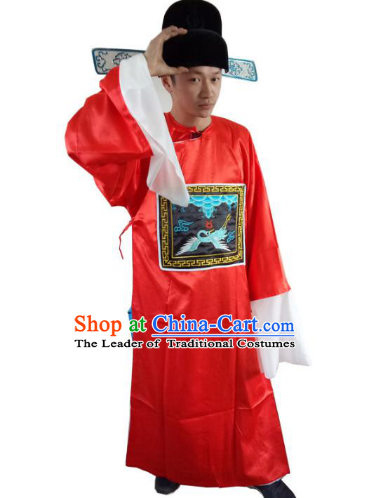 Traditional Chinese Peking Opera Lang Scholar Costume, China Ancient Beijing Opera Ministry Embroidered Robe Clothing  for Men