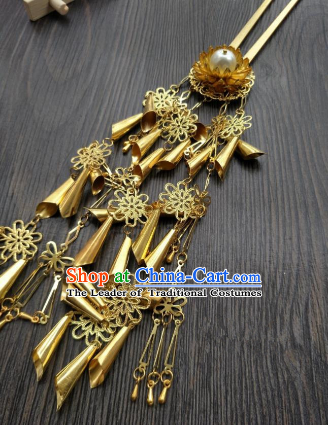 Traditional Handmade Chinese Hair Accessories Hanfu Golden Tassel Hairpins, China Ancient Tang Dynasty Palace Lady Step Shake for Women
