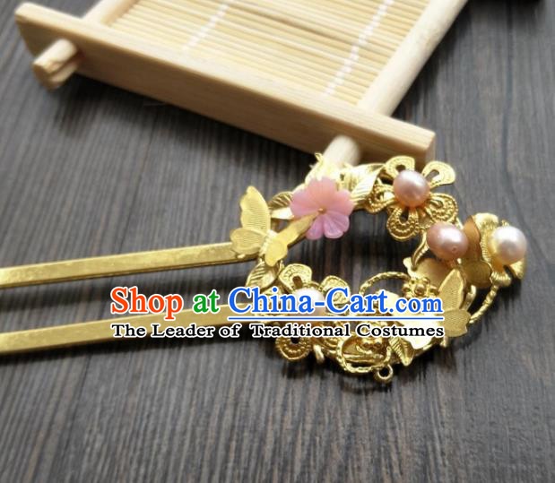 Traditional Handmade Chinese Hair Accessories Hanfu Golden Butterfly Hairpins, China Ancient Tang Dynasty Palace Lady Hair Stick for Women