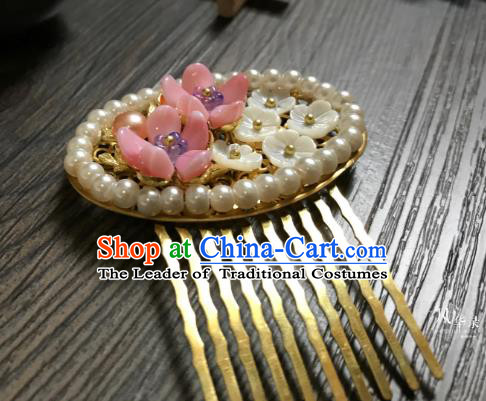 Traditional Handmade Chinese Hair Accessories Pearls Hair Comb Kanzashi, China Ancient Palace Lady Hanfu Hairpins for Women