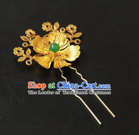 Traditional Handmade Chinese Qing Dynasty Manchu Lady Hair Accessories, China Ancient Imperial Concubine Golden Flower Hairpins for Women