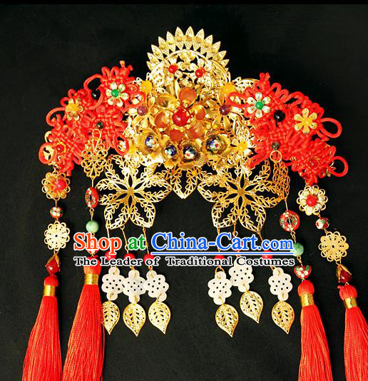 Traditional Handmade Chinese Hair Accessories Wedding Golden Phoenix Coronet, China Xiuhe Suit Tassel Step Shake Hairpins for Women