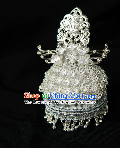 Traditional Handmade Chinese Wedding Hair Accessories Headwear, Chinese Miao Nationality Bride Sliver Phoenix Coronet Headpiece