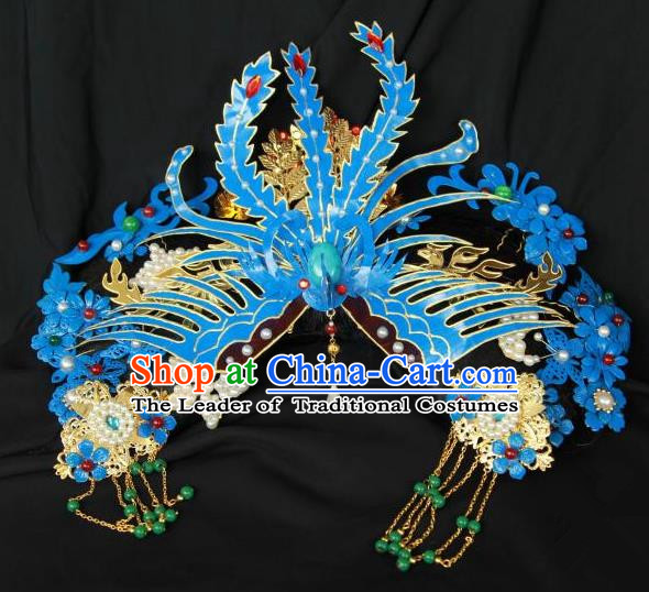 Traditional Handmade Chinese Qing Dynasty Hair Accessories Phoenix Headwear, Manchu High Coiffure Imperial Concubine Headpiece for Women