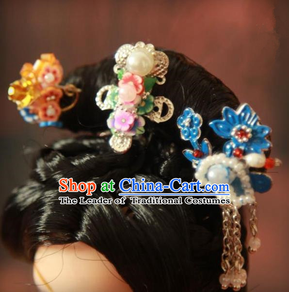 Traditional Handmade Chinese Qing Dynasty Hair Accessories Complete Set, Manchu High Coiffure Imperial Concubine Blueing Hairpins Headpiece