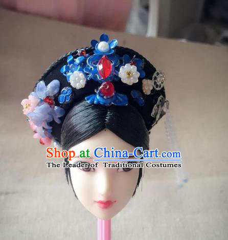 Traditional Handmade Chinese Qing Dynasty Hair Accessories Headwear, China Manchu High Coiffure Imperial Concubine Hat Headpiece