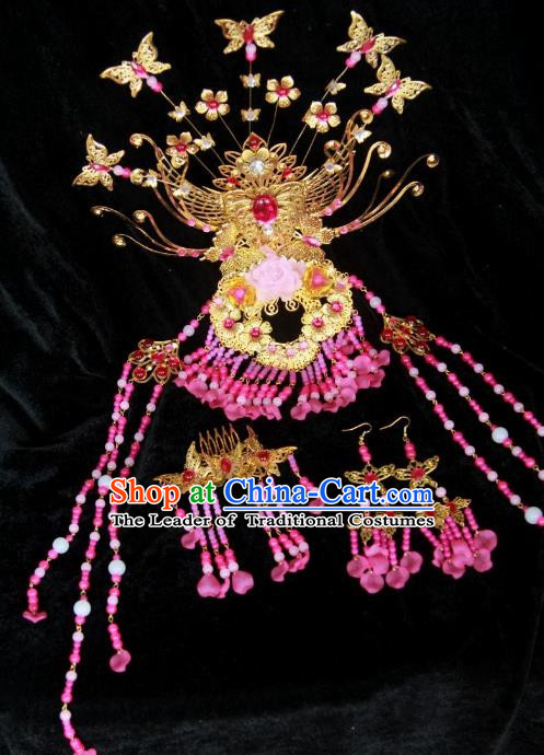 Traditional Handmade Chinese Tang Dynasty Princess Hair Accessories Headwear, China Ancient Imperial Concubine Phoenix Coronet Hairpins