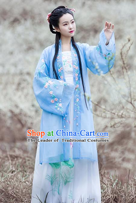 Asian Chinese Tang Dynasty Palace Lady Embroidered Costume Complete Set, Ancient China Princess BeiZi Hanfu Clothing for Women