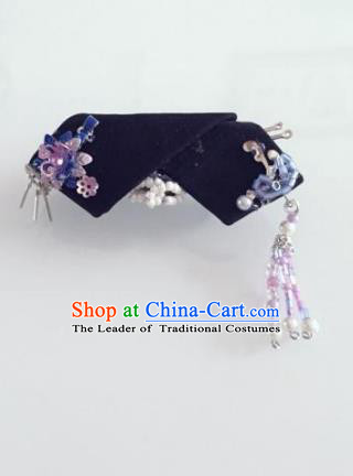 Traditional Handmade Chinese Qing Dynasty Hair Accessories Purple Tassel Headwear, Manchu High Coiffure Imperial Concubine Headpiece