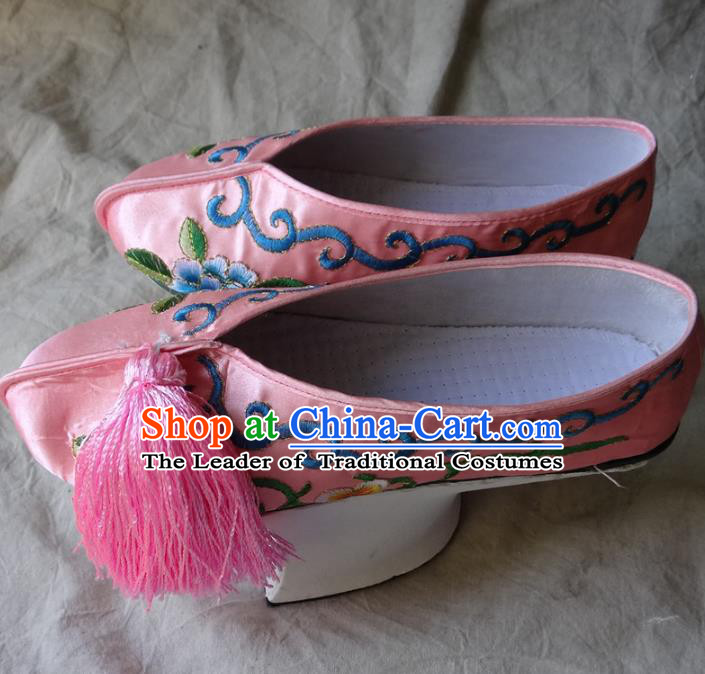 Traditional Chinese Qing Dynasty Princess Embroidered Shoes Saucers Pink Satin Shoes, China Ancient Manchu Palace Lady Blood Stained Shoes for Women
