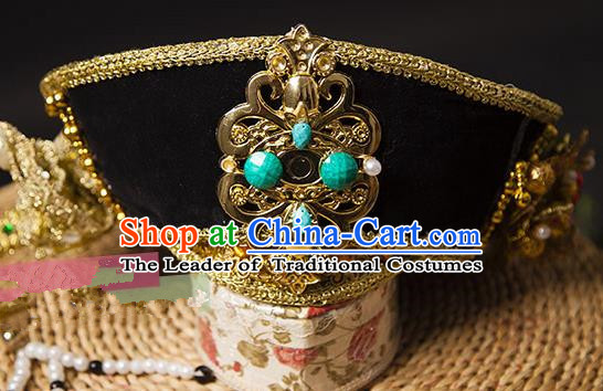 Traditional Handmade Chinese Hair Accessories Qing Dynasty Empress Hat Headwear, Manchu Imperial Concubine Hairpins for Women