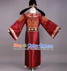 Traditional Ancient Chinese Prime Minister Costume and Headpiece, Asian Chinese Tang Dynasty Chancellor Clothing for Men