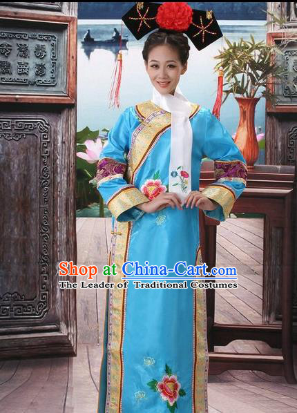Traditional Ancient Chinese Manchu Palace Lady Costume, Asian Chinese Qing Dynasty Imperial Consort Embroidered Blue Dress Clothing for Women