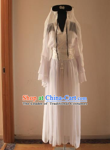 Traditional Chinese Classical Ancient Madam White Snake Costume, Asian China Song Dynasty Fairy Clothing for Women