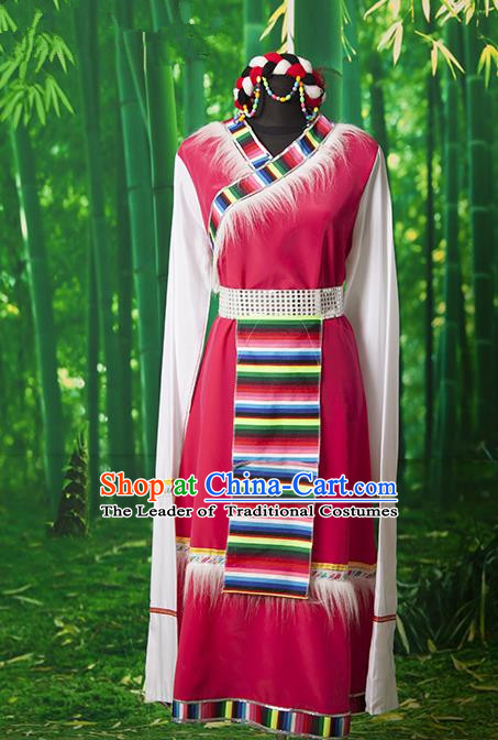 Traditional Chinese Zang Nationality Dance Costume, Folk Dance Ethnic Clothing, Chinese Tibetan Minority Nationality Dress for Women