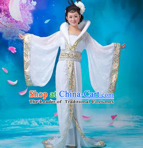 Asian China Ancient Tang Dynasty Imperial Concubine Costume, Traditional Chinese Hanfu Embroidered White Dress Clothing for Women