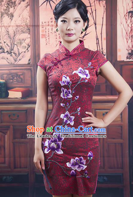 Traditional Chinese National Costume Red Qipao Printing Black Cheongsam Dress for Women