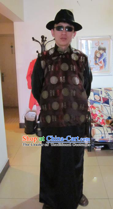 Traditional Ancient Chinese National Costume Mandarin Jacket, Asian Chinese Republic of China Plated Buttons Robe for Men