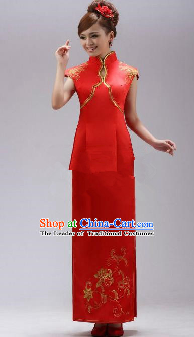 Traditional Chinese National Young Lady Red Qipao Costume, China Embroidered Cheongsam Dress for Women