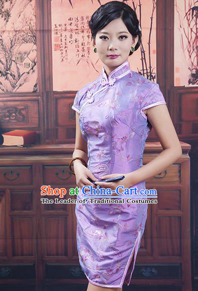 Traditional Ancient Chinese Republic of China Purple Cheongsam, Asian Chinese Chirpaur Qipao Dress Clothing for Women