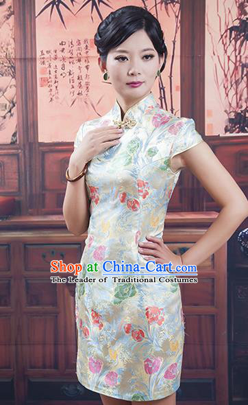 Traditional Ancient Chinese Republic of China Short Silk Cheongsam, Asian Chinese Chirpaur Qipao Dress Clothing for Women