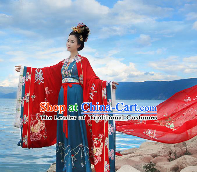 Asian Chinese Tang Dynasty Wedding Embroidered Costume, Ancient China Palace Lady Bride Embroidery Clothing Complete Set
