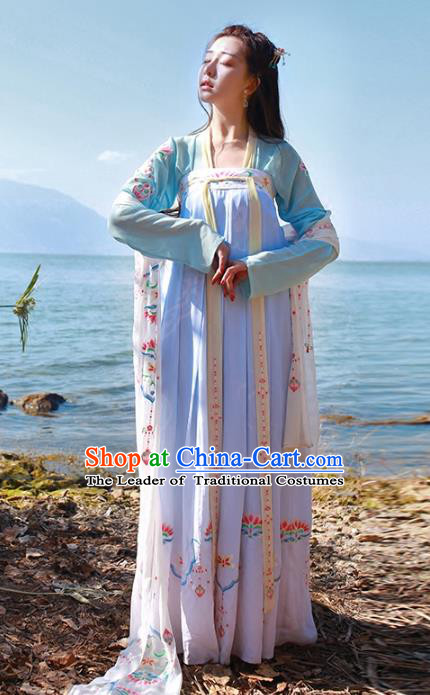 Asian Chinese Tang Dynasty Imperial Princess Embroidered Costume, Ancient China Palace Lady Embroidery Blouse and Skirt Complete Set