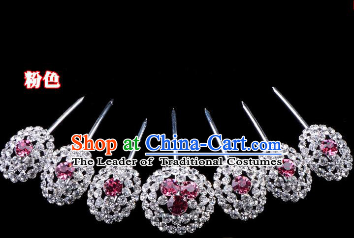 Traditional Beijing Opera Diva Hair Accessories Pink Crystal Head Ornaments Hairpins Complete Set, Ancient Chinese Peking Opera Hua Tan Hair Stick Headwear