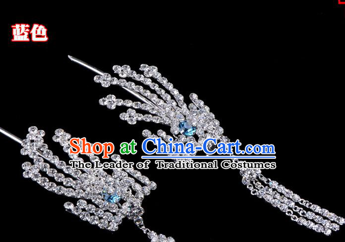 Traditional Beijing Opera Diva Hair Accessories Blue Crystal Inclined Phoenix Tassel Hairpins, Ancient Chinese Peking Opera Hua Tan Hair Stick Headwear