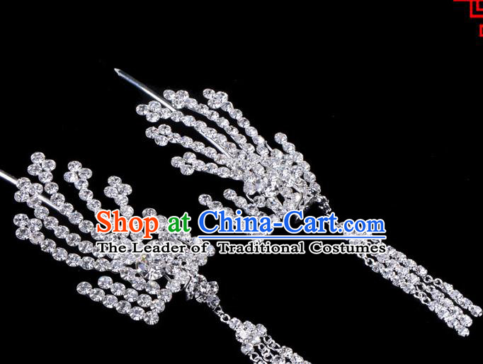 Traditional Beijing Opera Diva Hair Accessories Crystal Inclined Phoenix Tassel Hairpins, Ancient Chinese Peking Opera Hua Tan Hair Stick Headwear