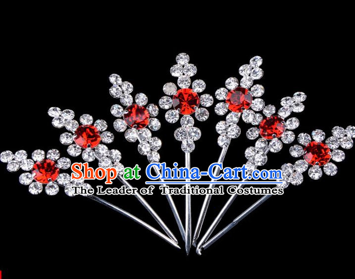 Traditional Beijing Opera Diva Hair Accessories Red Crystal Head Ornaments Complete Set, Ancient Chinese Peking Opera Hua Tan Hairpins Hair Stick Headwear