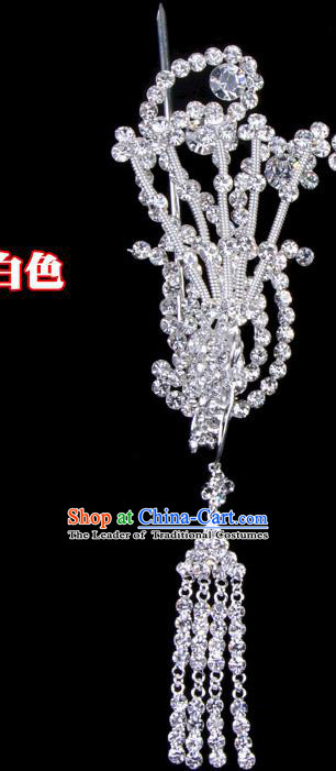 Traditional Beijing Opera Diva Hair Accessories Crystal Phoenix Head Ornaments, Ancient Chinese Peking Opera Hua Tan Tassel Hairpins Hair Stick Headwear