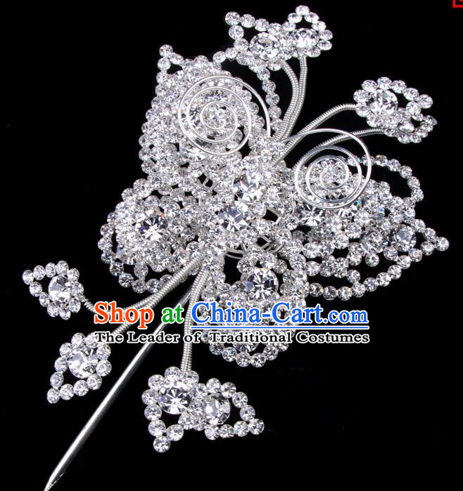 Traditional Beijing Opera Diva Hair Accessories Crystal Butterfly Head Ornaments, Ancient Chinese Peking Opera Hua Tan Large Hairpins Hair Stick Headwear