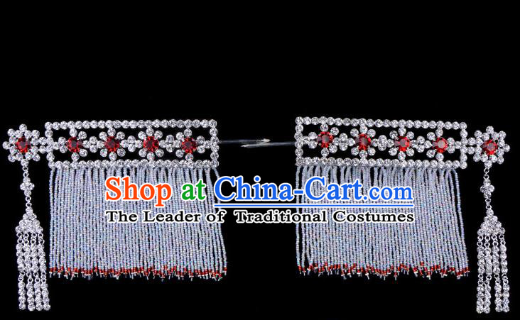 Traditional Beijing Opera Diva Hair Accessories Red Crystal Head Ornaments Temples Curtain Hairpins, Ancient Chinese Peking Opera Hua Tan Tassel Hair Stick Headwear