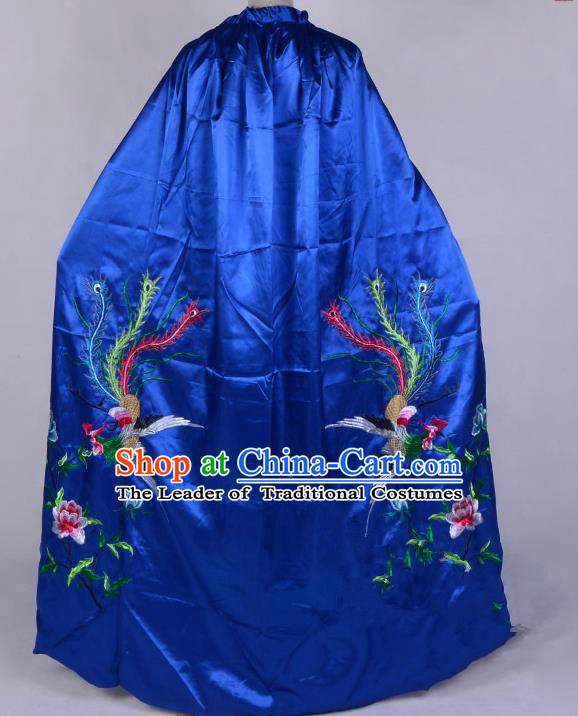 Top Grade Professional Beijing Opera Diva Costume Young Lady Embroidered Royalblue Cloak, Traditional Ancient Chinese Peking Opera Princess Embroidery Phoenix Mantle Clothing