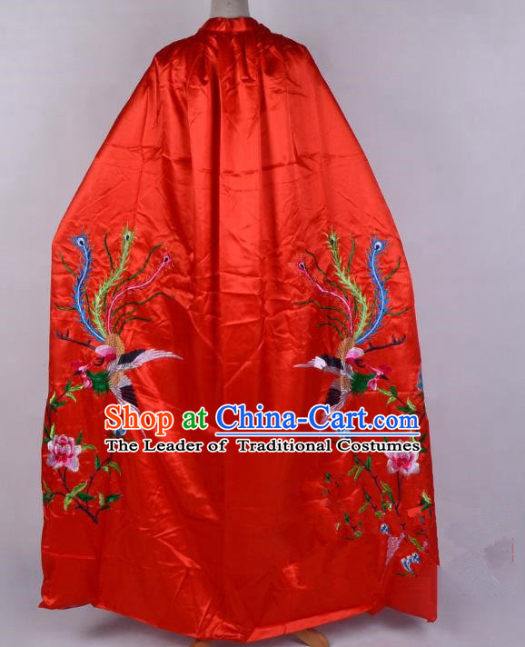 Top Grade Professional Beijing Opera Diva Costume Young Lady Embroidered Red Cloak, Traditional Ancient Chinese Peking Opera Princess Embroidery Phoenix Mantle Clothing