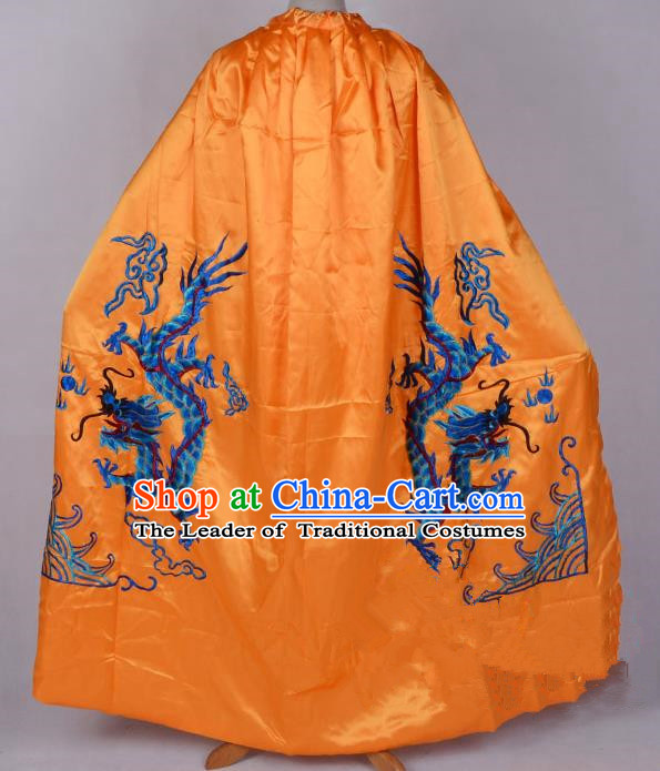 Top Grade Professional Beijing Opera Costume Emperor Embroidered Yellow Cloak, Traditional Ancient Chinese Peking Opera King Embroidery Dragons Mantle Clothing