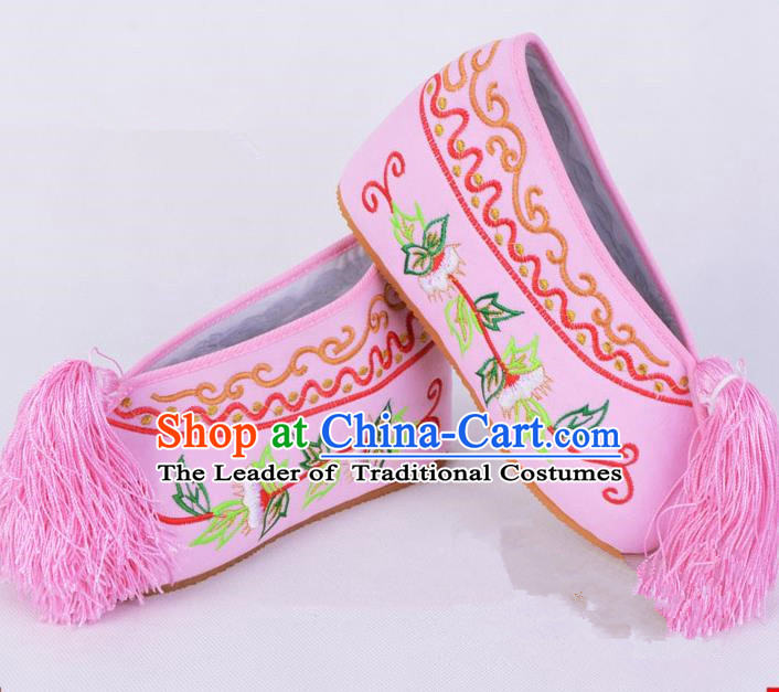 Traditional Beijing Opera Diva Pink Satin Embroidered Shoes Cloth Shoes, Ancient Chinese Peking Opera Hua Tan Princess Blood Stained Shoes