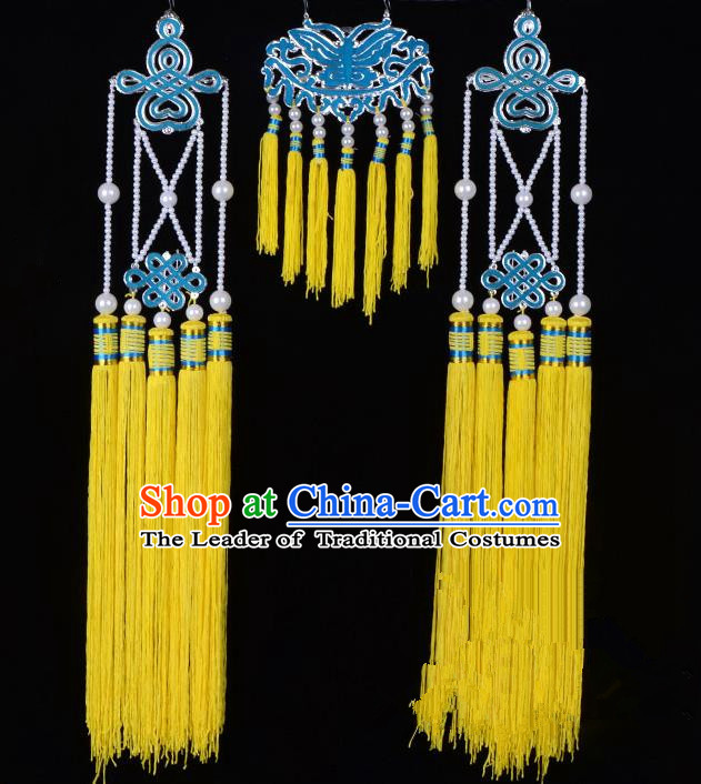 Traditional Beijing Opera Diva Hair Accessories Empress Head Ornaments Temples Curtain Hairpins, Ancient Chinese Peking Opera Hua Tan Yellow Tassel Headwear