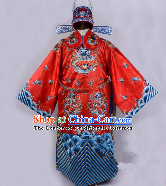 Top Grade Professional Beijing Opera Emperor Costume Royal Highness Red Embroidered Robe and Belts, Traditional Ancient Chinese Peking Opera Embroidery Dragons Clothing