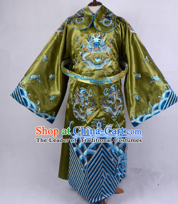 Top Grade Professional Beijing Opera Emperor Costume Royal Highness Olive Green Embroidered Robe and Belts, Traditional Ancient Chinese Peking Opera Embroidery Dragons Clothing
