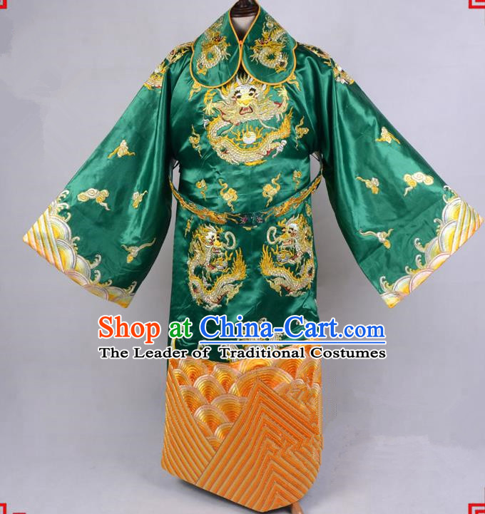 Top Grade Professional Beijing Opera Emperor Costume Royal Highness Green Embroidered Robe and Belts, Traditional Ancient Chinese Peking Opera Embroidery Dragons Clothing