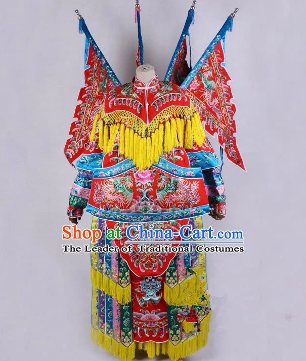 Top Grade Professional Beijing Opera Female General Costume Swordplay Embroidered Cape, Traditional Ancient Chinese Peking Opera Mu Guiying Embroidery Robe Clothing