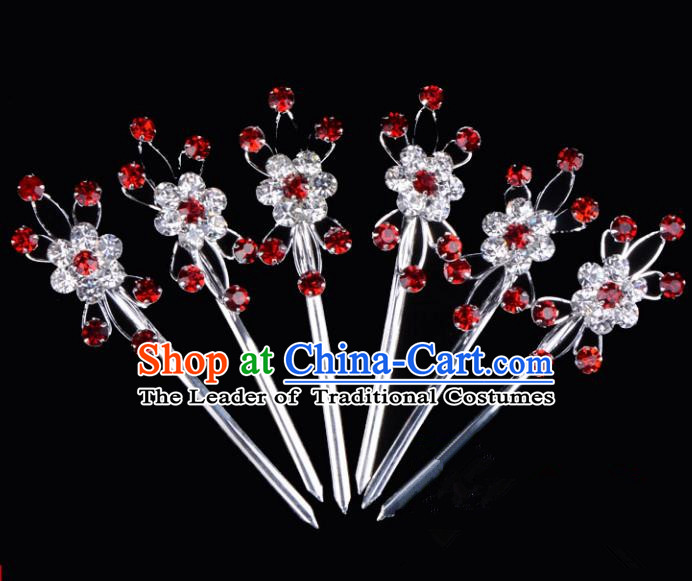 Traditional Beijing Opera Diva Hair Accessories Crystal Hairpins Complete Set, Ancient Chinese Peking Opera Hua Tan Hair Stick Headwear