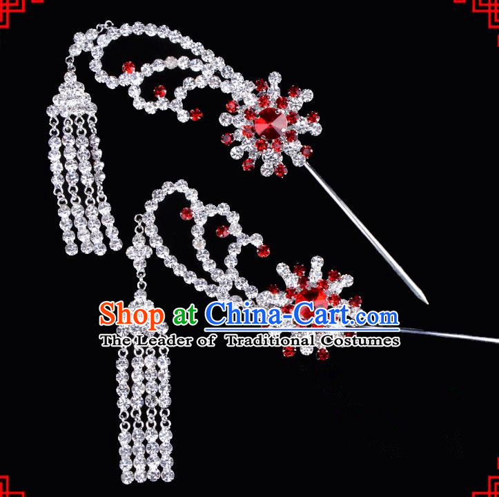 Traditional Beijing Opera Diva Hair Accessories Red Crystal Tassel Step Shake Hairpins, Ancient Chinese Peking Opera Hua Tan Hair Stick Headwear